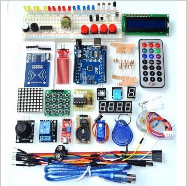 Envío Gratis Kit de inicio de versión avanzada actualizado el Kit de Suite de aprendizaje RFID LCD 1602 para Arduino UNO R3