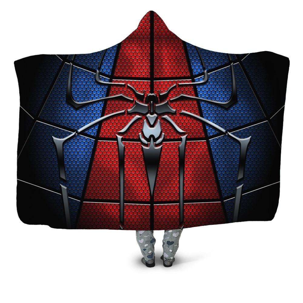 Manta con capucha roja y azul para niños adultos, ropa de cama de niño superhéroe, con forro polar para hombre araña
