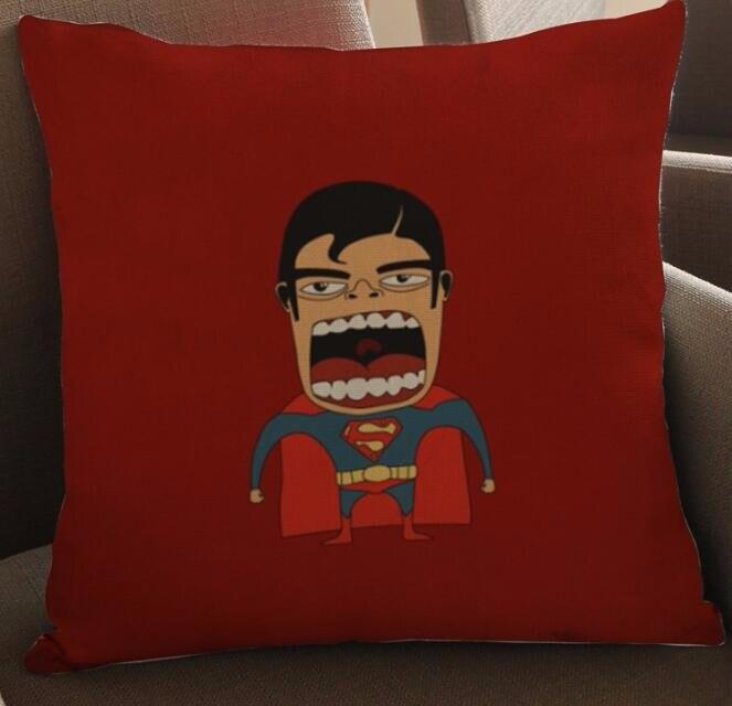 Funda de almohada de lino creativa con estampado de Super héroe, funda de sofá cama, sala de coche, casa, Dec FG288