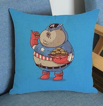 Creativo XXXLOver tamaño Super héroe impreso funda de cojín de lino creativo funda de almohada sofá cama coche habitación hogar Dec FG287