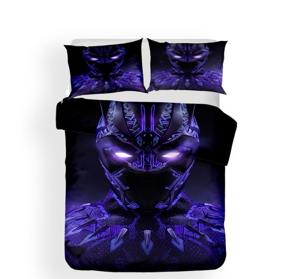 3D impresión Pantera Negra púrpura juego de cama Super héroe edredón conjunto de ropa de cama para niño/niña conjunto de ropa de cama de microfibra funda de almohada