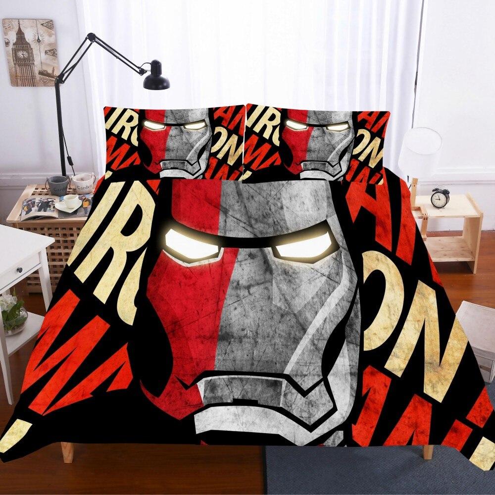 Juego de ropa de cama de superhéroe con estampado en 3D, juego de edredón con estampado de letras, juego de ropa de cama de microfibra de 13 tamaños para niños y niñas
