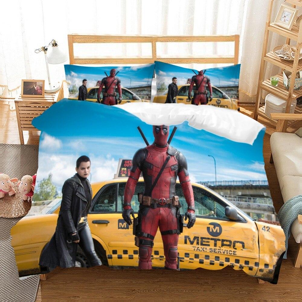 Juego de ropa de cama de Deadpool, juego de ropa de cama de superhéroe, con cremallera, películas, personaje, funda nórdica, funda de almohada, edredón tamaño king Set