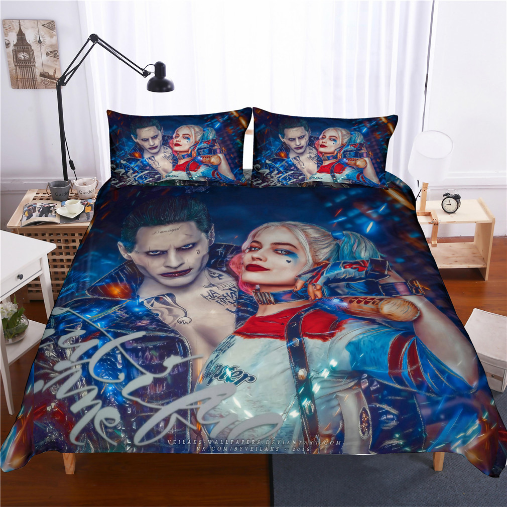 Juego de cama 3D EQUIPO DE Suicide Harley Quinn juego de edredón funda nórdica payaso Matador Super héroe ropa de cama