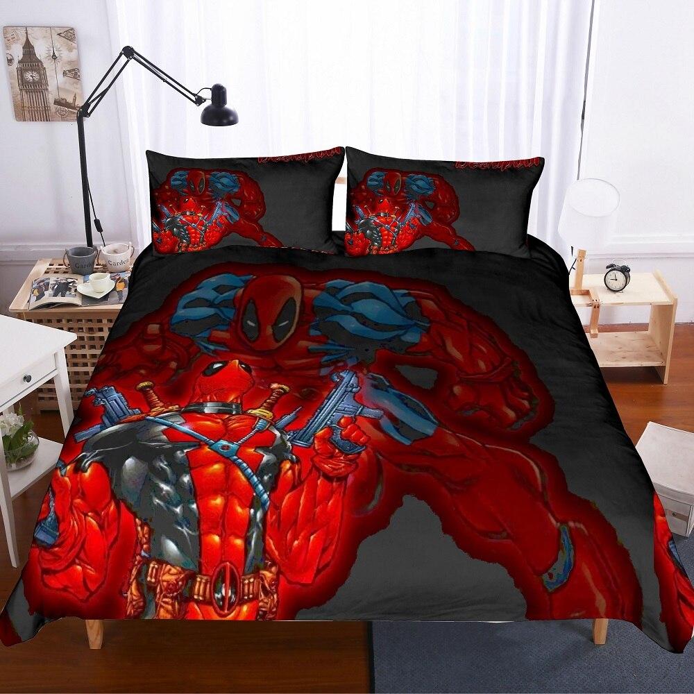 Película clásica Super héroe juego de ropa de cama 3D estampado Terror personaje juego de cama Multi tamaño negro/rojo edredón conjunto 3 uds ropa de cama