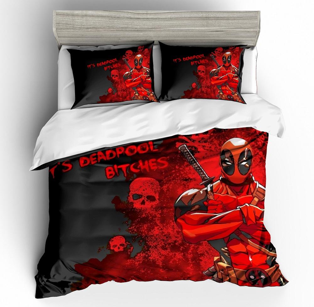 Juego de edredón rojo de superhéroe de películas clásicas con estampado 3D conjunto de ropa de cama con funda de almohada 2/3 Uds.