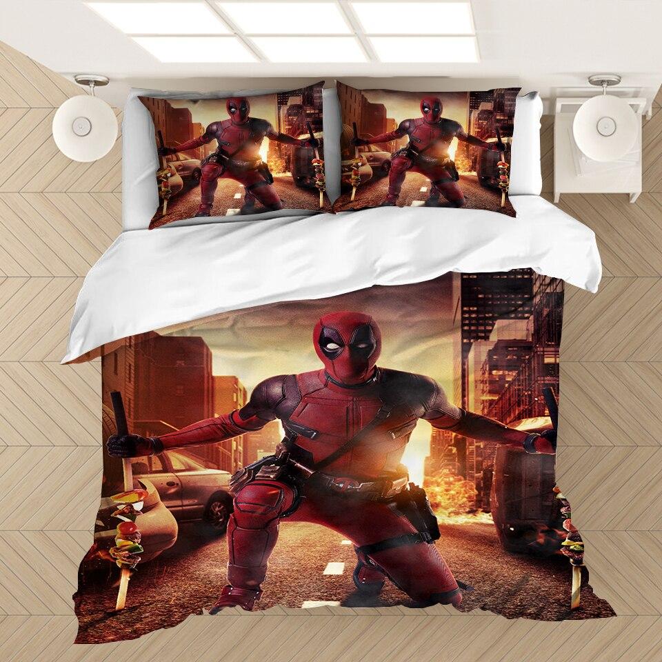 Super héroe Marvel Deadpool juego de cama con impresión en 3D juego de edredón ropa de cama funda de edredón fundas de almohada 3 uds