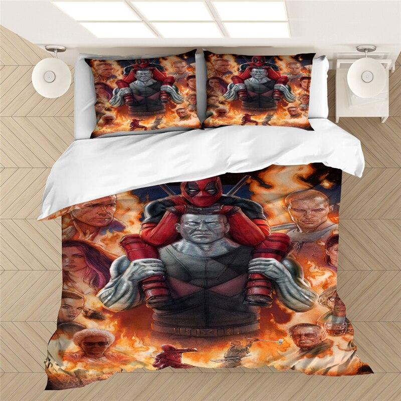 Marvel Deadpool 3D Impresión Digital juego de cama edredón juego de cama Super héroe ropa de cama funda de edredón fundas de almohada