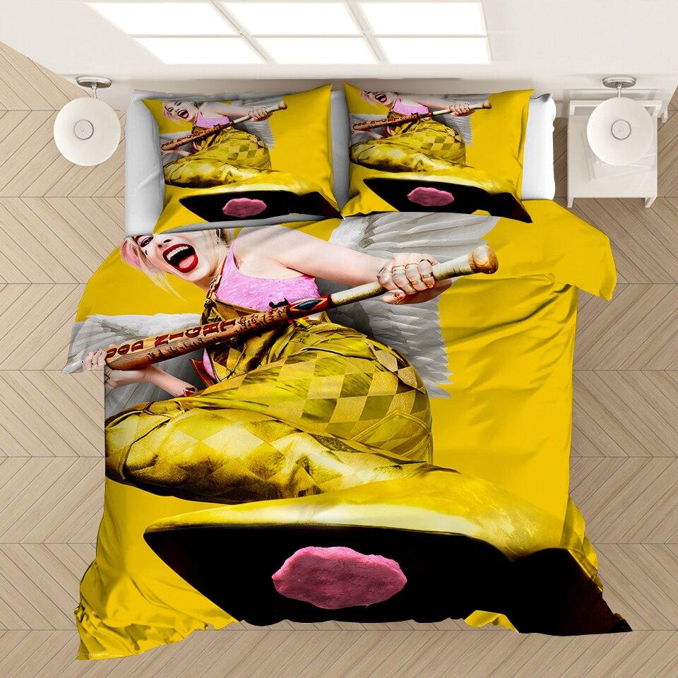 Juego de cama en 3D Harley Quinn juego de edredón funda de edredón súper héroe de payaso y superhéroe ropa de cama 3 uds