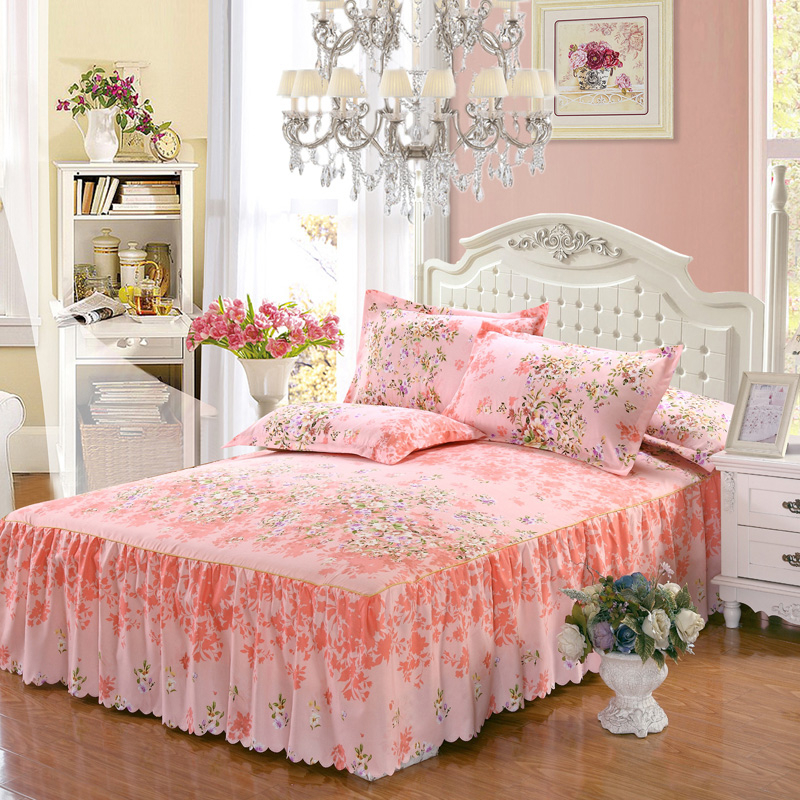 Funda de cama de 15 estilos de calidad funda de colcha de algodón faldas Funda de colchón de cama plana de boda sábanas 150x200cm