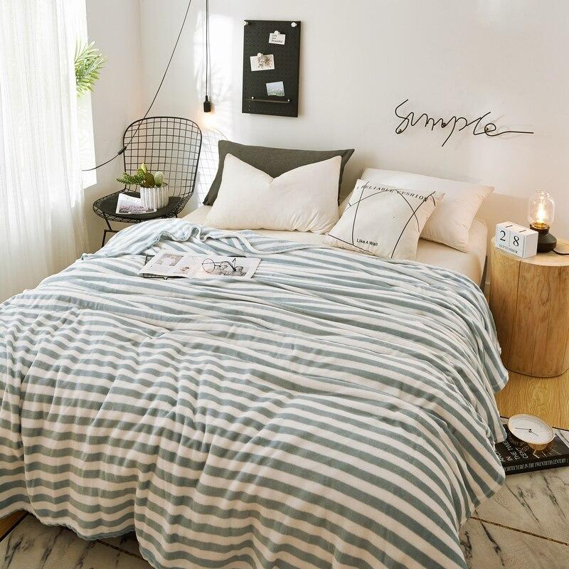 Manta de lana de franela manta de viaje suave manta de rayas colcha de felpa cubierta para cama sofá cálido regalo Dropshipping