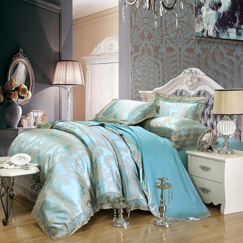 Sliver dorado de lujo satén Jacquard juegos de cama bordado Super king size conjuntos de cobertor colcha fundas de almohada decoración de boda