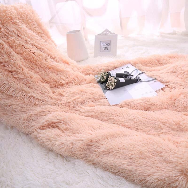 Mantas de lana de felpa mullidas para cama Manta de tiro suave Manta de aire acondicionado colchas sólidas Cobertor niña boda 1 pieza