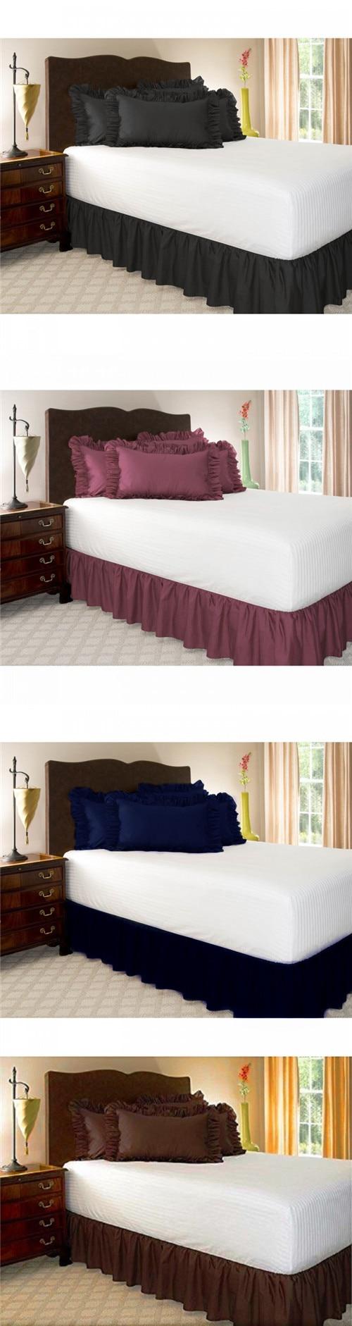 2019 nuevo Hotel falda elástica de cama colcha de Color sólido sin superficie de la cama para King/queen Size sábana hogar habitación decoración textil